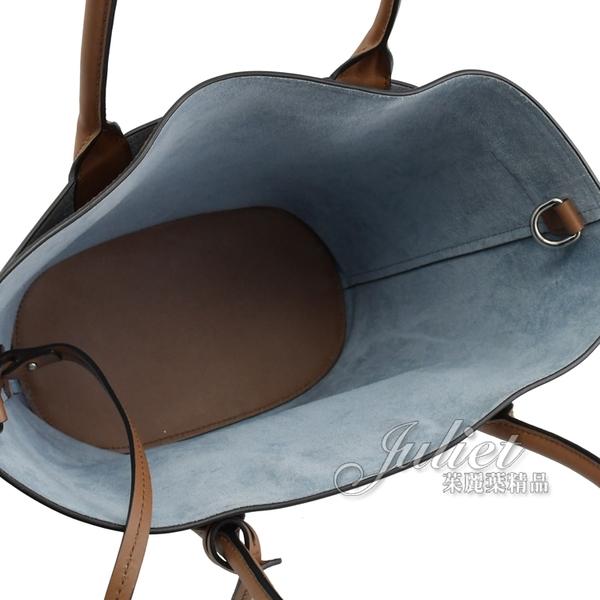 茱麗葉精品【全新現貨】PRADA 1BA180 壓印LOGO小牛皮兩用水桶包.咖/藍