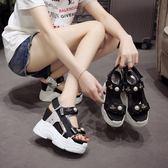 厚底涼鞋 正韓 露趾搭扣增高鞋松糕羅馬鞋