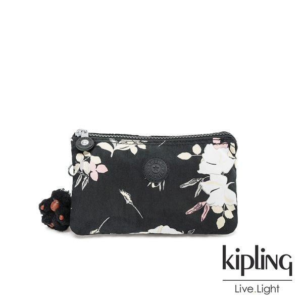 Kipling 沉靜黑浪漫花卉三夾層配件包-CREATIVITY XL
