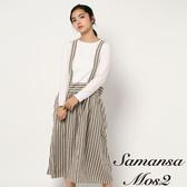 ❖ Winter ❖ 直條紋毛料混紡吊帶裙 (提醒➯SM2僅單一尺寸) - Sm2