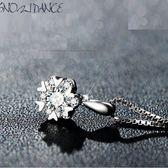 項鍊 浪漫雪花心型鋯石 925銀鏈 鎖骨鏈 甜星飾品