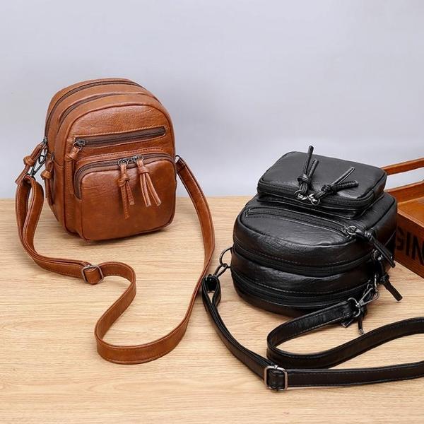 手機包 斜背包女小包2021新款包包女軟皮側背包女復古時尚多層兜手機包女 童趣屋 交換禮物