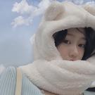 女帽 秋冬圍巾帽小清新甜美學生耳朵帽子女保暖時尚圍脖帽一體純色 小天後
