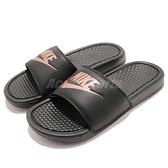 Nike 涼拖鞋 Wmns Benassi JDI 黑 金 玫瑰金 女鞋 男鞋 涼鞋 GD拖 大LOGO 【ACS】 343881-007