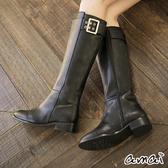 amai率性金屬方釦側拉鏈長靴 黑