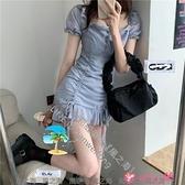 短袖洋裝 春季韓版收腰顯瘦雪紡抽繩綁帶泡泡短袖連身裙女裝裙子潮【風之海】