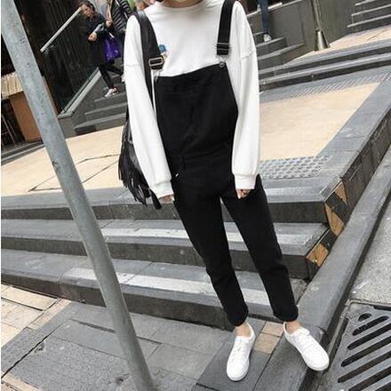 【TU21】吊帶褲 寬鬆顯瘦學生黑色背帶褲 九分哈倫連體褲 長褲8060