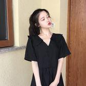 【降價一天】連衣裙2019新款夏季女裝大碼小黑裙胖妹妹流行V領法式復古裙子潮