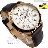 FOSSIL 公司貨 Grant 旗艦三眼計時復刻腕錶 銀x玫塊金框x咖啡 男錶 FS4991【時間玩家】