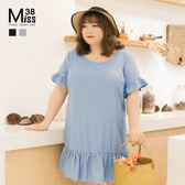 Miss38-(現貨)【A06272】大尺碼棉麻洋裝 百搭純色 露背交叉 荷葉邊袖口下擺 短袖連身裙 -大尺碼女裝