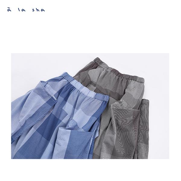 a la sha 立體感剪接深淺格子長裙