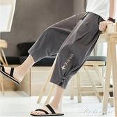 亞麻短褲中國風男褲子夏季薄款寬鬆棉麻七分褲燈籠沙灘褲休閒潮流 黛尼時尚精品