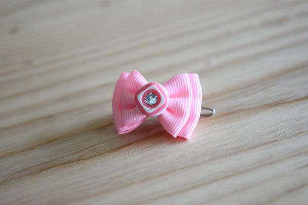 ★OBO CLUB HOUSE☆ 鈕扣晶鑽蝴蝶結頭飾-粉紅(扣夾)