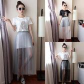 夏季新款超薄透視網紗半身裙女單層黑色打底紗裙高腰外搭透明長裙