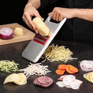 PUSH!廚房用品防切手多功能切片切菜器刨絲器(薄切檸檬)D127
