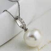 韓國925純銀單顆珍珠短款項錬 日韓簡約百搭鎖骨錬銀飾配飾掛飾女