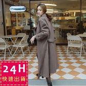 梨卡★現貨 - 韓國東大門超長版高品質毛呢大衣外套 - 氣質小香風中長版繫帶立領大衣A128
