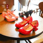 女童皮鞋2018春秋新款兒童高跟鞋