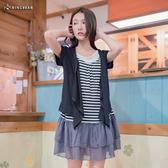 質感修身層次外套+橫條紋短袖T拼接蛋糕裙假三件式長版上衣(黑.咖.紅M-2L)-D295眼圈熊中大尺碼