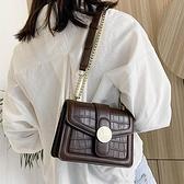 港風復古小包包女包2021流行新款潮時尚百搭鏈條斜挎包網紅小方包 【端午節特惠】