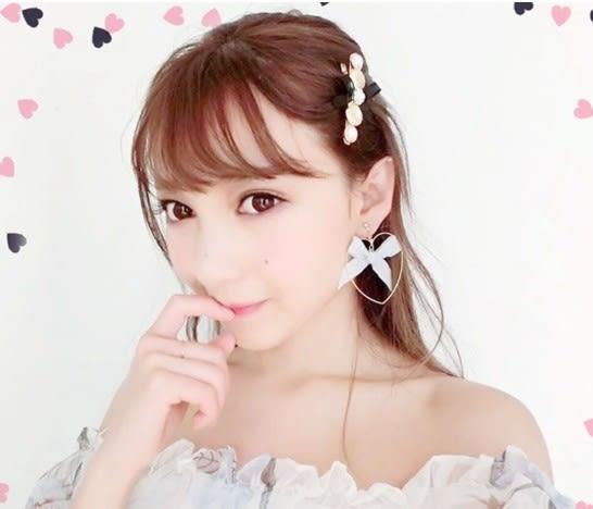 star 童話系列 - 心形甜美蝴蝶結耳環(需耳洞)-D131