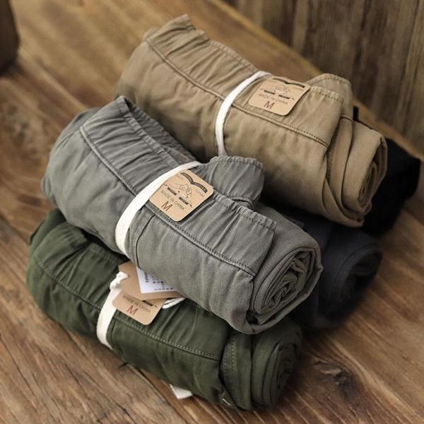 日系復古純棉休鬆工裝褲做舊水洗寬鬆直筒運動九分抽繩束腳褲男格蘭小鋪