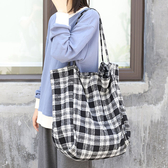 帆布袋 格紋 呢 大容量 手提包 帆布包 單肩包 環保購物袋--手提包/單肩包【AL396】 BOBI  04/25