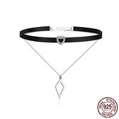 925純銀項鍊鑲鑽-雙層菱形歐美時尚女鎖骨鍊73og6【時尚巴黎】