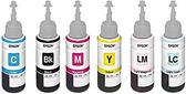 T673100至T673600 原廠墨水匣6色一組 (黑/藍/紅/黃/淡藍/淡紅) 適用 L800/L805/L1800