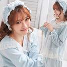 (外單少量)雙層絨毛~天鵝絨-3件組~睡衣+睡褲+髮帶-2色