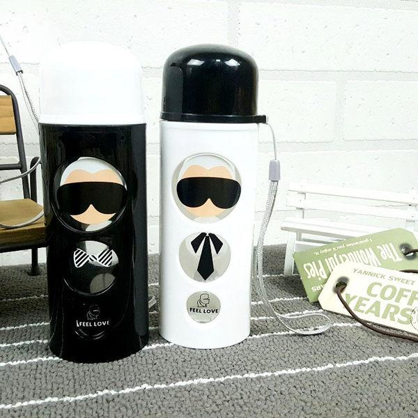 水杯【KCG092】黑白時尚圓圈老先生玻璃杯250ml 水瓶 瓶子 咖啡杯 隨行杯 水壺-123ok