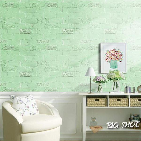 墻貼-自粘仿3D立體白色磚塊壁紙現代字母防水墻貼臥室宿舍墻紙服裝店【大咖玩家】