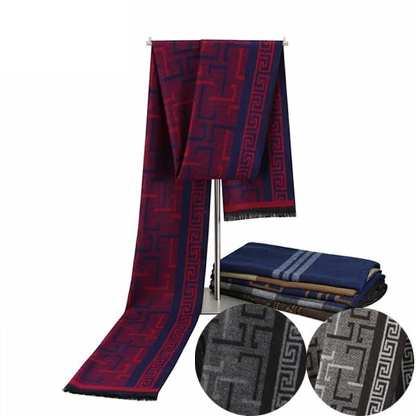 開斯米羊絨雙色雙面法式緹花圍巾 (黑灰 紅藍 淺灰)三色