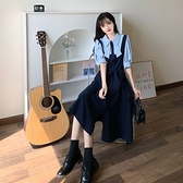 VK精品服飾 韓系大碼休閒撞色襯衫拼接蝴蝶結領短袖洋裝