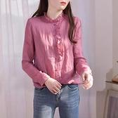 秋季襯衫女長袖純棉麻薄款上衣氣質復古襯衣木耳立領原創設計女裝 衣櫥秘密