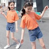 女童短袖上衣 女童短袖T恤 夏裝大童兒童白色上衣洋氣小女孩半袖純棉體恤潮-Ballet朵朵