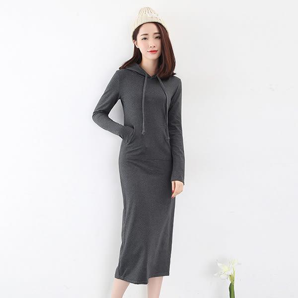 超長款連帽休閒洋裝/ 衣櫃控-WardrobE /TA681