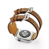 錶帶apple watch真皮錶帶蘋果iwatch雙扣手錶帶1/2/3代38/42mm 交換禮物