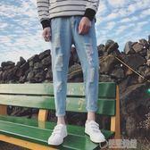 破洞牛仔褲男韓版潮流修身小腳男士九分褲直筒寬鬆帥氣牛子褲   草莓妞妞