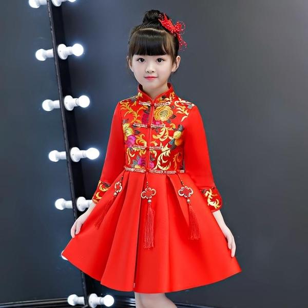 伊人 女童旗袍寶寶新年裝中國風洋氣公主裙兒童唐裝連身裙