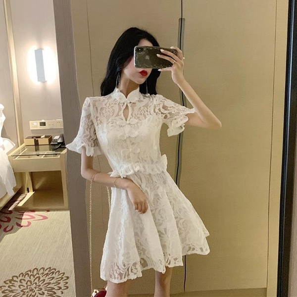 改良旗袍 2020年夏裝新款時尚收腰改良版蕾絲白色旗袍年輕款連衣裙少女裝潮