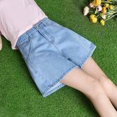 牛仔短褲 新款韓版高腰顯瘦a字褲子寬鬆闊腿熱褲鬆緊褲裙【雙12回饋慶限時八折】