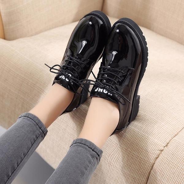 牛津鞋 正裝小皮鞋女韓版百搭2021年秋季新款英倫風軟皮黑色系帶粗跟單鞋 8號店