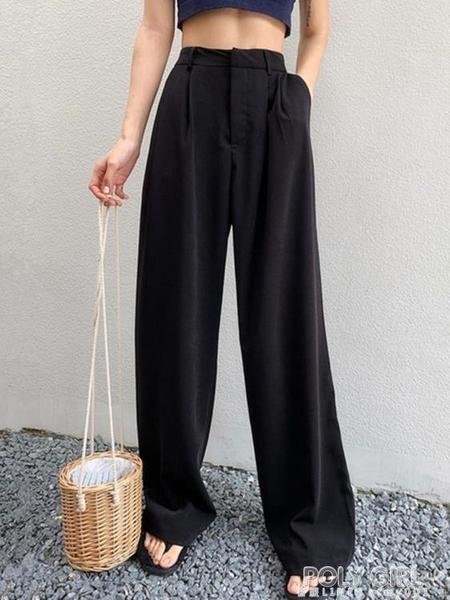 黑色寬管褲女高腰垂感新款寬鬆顯瘦直筒拖地褲休閒雪紡西裝褲 poly girl