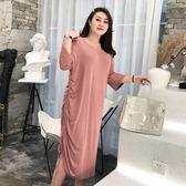 胖妹妹mm法式收褶仙女裙2019新款大碼女裝遮肚連身裙子