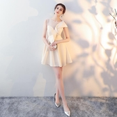 宴會小晚禮服2019新款洋裝名媛生日派對聚會連身裙短款伴娘服顯瘦Mandyc