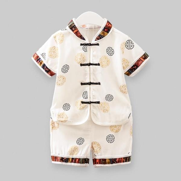 嬰兒童唐裝漢服抓周衣服1-3周歲寶寶短袖純棉兩件套 男童夏裝套裝