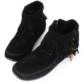 【MINNETONKA】黑色麂皮羽毛流蘇莫卡辛 女短靴 展示品