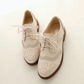 牛津鞋新款英倫風小皮鞋女韓版百搭單鞋女平底布洛克牛津鞋大碼女鞋聖誕交換禮物