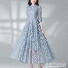 旗袍式蕾絲修身顯瘦中長款時尚流行貴夫人氣質洋裝年春夏裝 雙十二全館免運